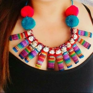 Mexican Worry Dolls Ethnic Necklace Handmade Cute